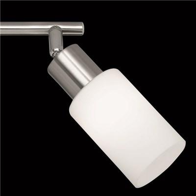 Lámpara de techo, en níquel mate y vidrios blanco mate, 2 apliques