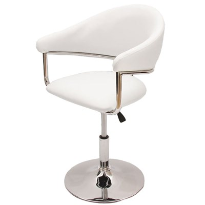 Silla / Taburete COMO, estructura metálica, en piel, color blanco