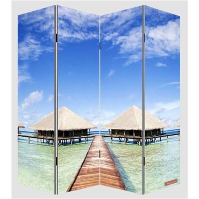 Biombo separador M68, dimensiones 180x160cm, decorado ambas caras, diseño playa