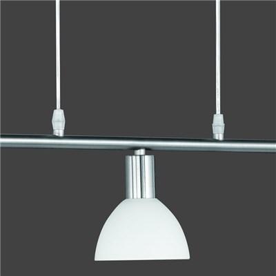 Lámpara de Techo colgante 3 focos, en niquel mate y pantalla vidrio blanco