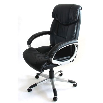 Silla de Oficina Ejecutiva M61, respaldo muy alto, en polipiel color  negro