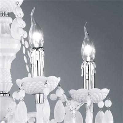 Lámpara de Techo tipo ARAÑA, para 5 bombillas, fabricada en vidrio acrílico color blanco