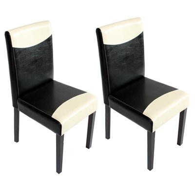 Conjunto 2 Sillas de Comedor LITAU en madera y polipiel color crema/negro y patas oscuras