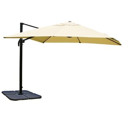 Sombrilla / Parasol IDRA CON SOPORTE, de 3 x 3 metros, Crema , Ajustable, Cruz de suelo Incluida