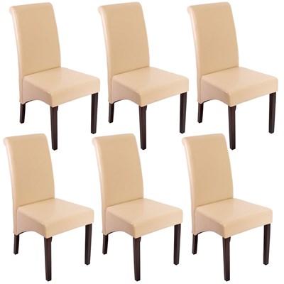 Lote 6 Sillas de Comedor TURIN, Gran estilo y calidad, tapizadas en Piel Real crema y patas madera oscuras