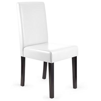 Lote 2 Sillas de Comedor LITAU, precioso diseño, Piel Real Blanca y patas oscuras