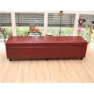 Banco con almacenamiento KIEN XXL, Piel sintetica roja 180x45x45cm