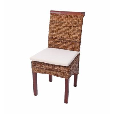 Lote 6 Sillas de comedor o Jardín M45 en madera mimbre marrón y patas madera (cojines incluidos)