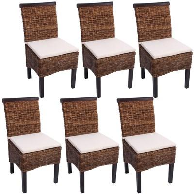 Lote 6 Sillas de comedor o Jardín M45 en madera mimbre marrón y patas oscuras (cojines incluidos)