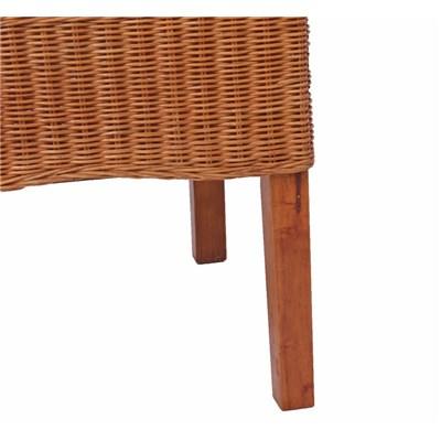 Lote 2 Sillas de comedor o Jardín M42 en madera y mimbre color marrrón claro (cojines incluidos)