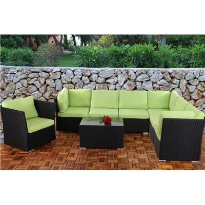 Conjunto Poly Rattan 6 Plazas +1, Sistema Modular, Estructura Negra Antracita, Almohadas en Verde Claro