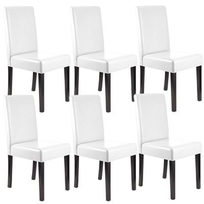 Lote 6 Sillas de Comedor LITAU, precioso diseño, Piel Real Blanca y patas Oscuras