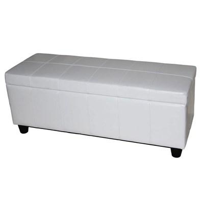 Arcón banco KIEN muy confortable 112x45x45cm Piel blanca