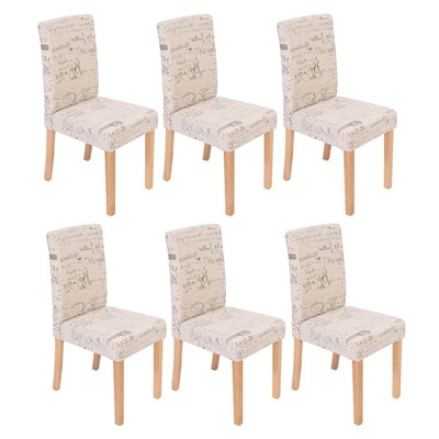 Conjunto de 6 Sillas de Comedor DALI, Diseño Moderno,  tejido Crema con motivos, patas claras