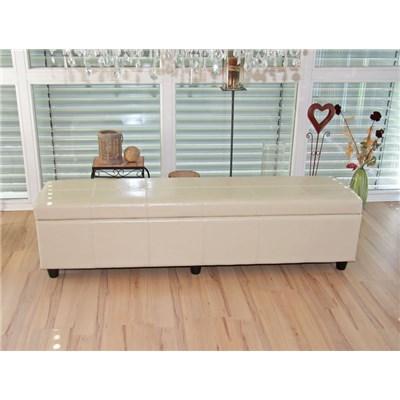 Banco con almacenamiento KIEN XXL, Piel sintetica crema 180x45x45cm