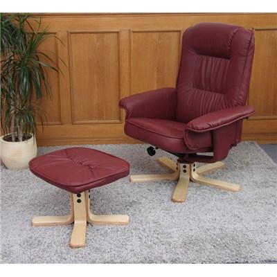 Sillón Relax reclinable MALAGA, tapizado en piel, muy cómodo, color Burdeos