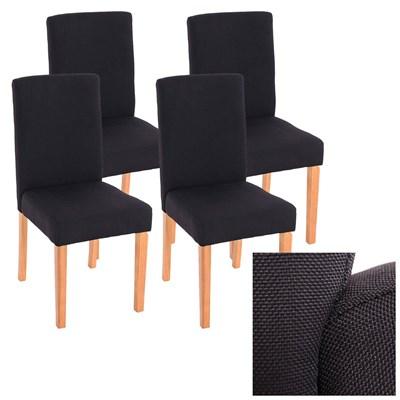 Lote 4 Sillas de Comedor LITAU TELA, precioso diseño, tela Negra y patas Claras