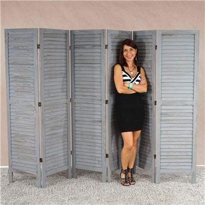 Biombo plegable dimensiones 170x276cm, 5cm de grosor, estilo clasico en gris