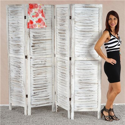 Biombo plegable dimensiones 170x182cm, 5cm de grosor, estilo clasico , vintage blanco