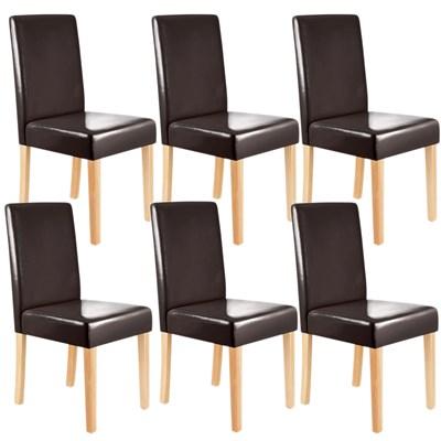 Conjunto 6 Sillas de Comedor LITAU, Gran diseño Clásico, Piel Marrón patas claras
