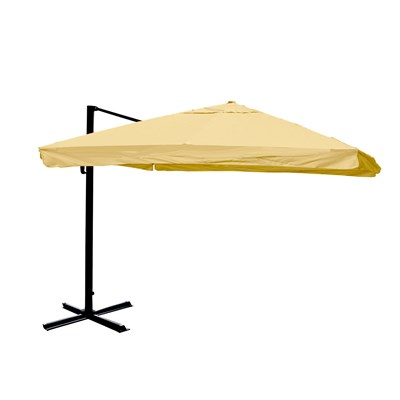 Parasol Sombrilla GIRATORIA APOLO, de 3 x 3 metros, color Crema, Ajustable, Cruz de suelo Incluida