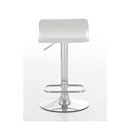 Taburete de Diseño IZAN, estructura metálica cromada, ajustable en altura, en piel color blanco