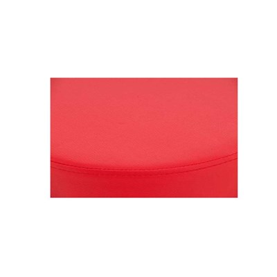Taburete de Cocina WALSER, En Piel Roja y Estructura Metálica, Ajustable y Giratorio