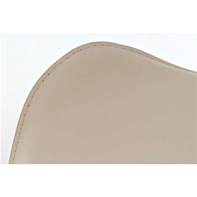 Taburete de Diseño Para Barra YAGO, En Piel Crema y Estructura Metálica Cromada