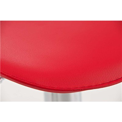 Taburete de Diseño Para Barra YAGO, En Piel Roja y Estructura Metálica Cromada