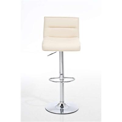 Taburete de Cocina NORA, altura ajustable, asiento y respaldo acolchados, en piel crema