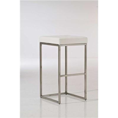 Taburete de Cocina o Bar ELSA PLUS, estructura en acero, asiento acolchado en piel color blanco