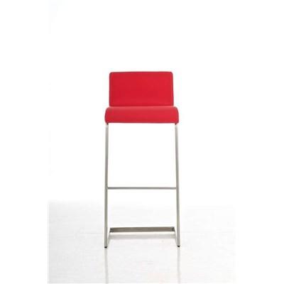 Taburete de Diseño Para Barra NEW YORK, En Piel Rojo y Estructura en Acero Inoxidable, Gran Diseño