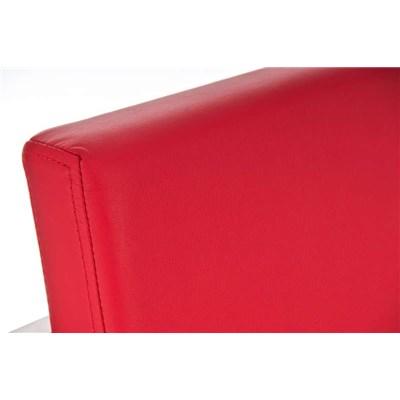 Taburete de Bar ATLANTICO, en acero inoxidable, asiento y respaldo acolchados, en piel color rojo