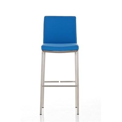 Taburete de Bar LINCON, estructura de acero inoxidable, muy resistente, en piel azul