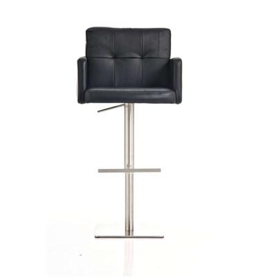 Taburete de Diseño PAU, en Piel Color Negro, Base en Acero Inoxidable, Máxima Calidad y Confort