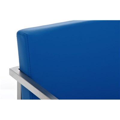 Taburete de Bar ATLANTICO, en acero inoxidable, asiento y respaldo acolchados, en piel color azul
