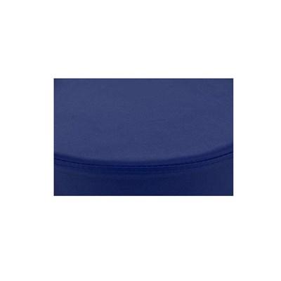 Taburete de Cocina WALSER, En Piel Azul y Estructura Metálica, Ajustable y Giratorio