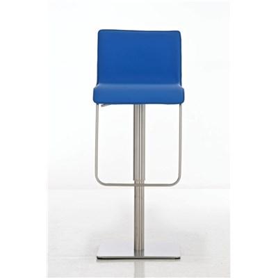 Taburete para Bar o Cocina EVA, estructura en acero, exclusivo diseño, altura ajustable, en piel azul