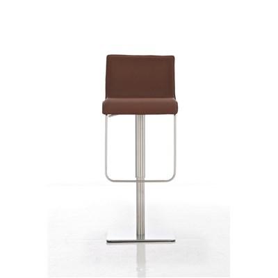 Taburete para Bar o Cocina EVA, estructura en acero, exclusivo diseño, altura ajustable, en piel marrón claro