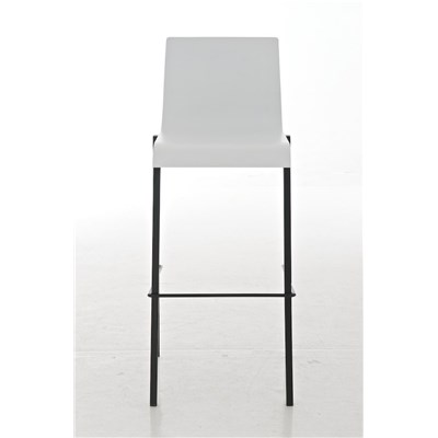 Taburete de Cocina o Bar MARTINA, estructura metálica en negro mate, asiento en madera blanco