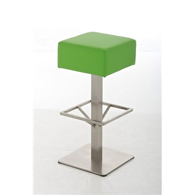 Taburete de Bar MARK 76 PIEL, en acero inoxidable, altura asiento 76cm, tapizado en piel verde