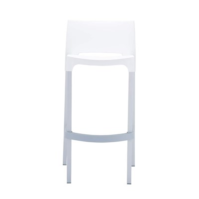 Taburete de Diseño GIOVANNI, apilable, en aluminio anodizado, ámplio asiento en polipropileno blanco