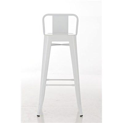 Taburete de Diseño MEISON, en Color Blanco, Fabricado en Metal, Con Respaldo