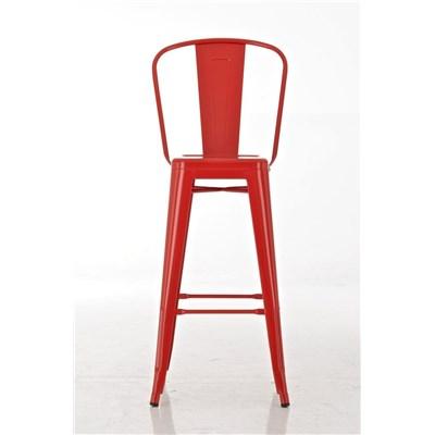 Taburete para Bar o Cocina ADRI, muy resistente, modelo apilable, gran respaldo, en metal color rojo