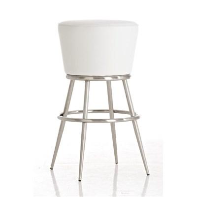 Taburete de Bar CARLOTA 85cm, en acero inoxidable, gran asiento acolchado, en piel color blanco