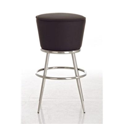 Taburete de Bar CARLOTA 85cm, en acero inoxidable, gran asiento acolchado, en piel color marrón oscuro