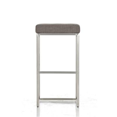 Taburete de Cocina o Bar ELSA PLUS, estructura en acero, asiento acolchado en tejido color gris