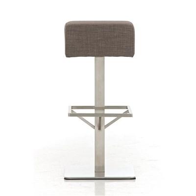 Taburete de Bar MARK 76 TELA, en acero inoxidable, altura asiento 76cm, tapizado en tejido gris
