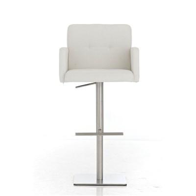 Taburete de Diseño PAU, en Tela Color Blanco, Base en Acero Inoxidable, Máxima Calidad y Confort