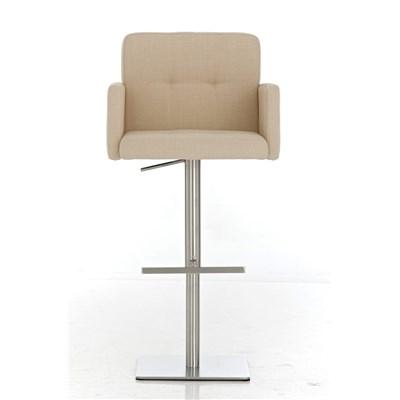 Taburete de Diseño PAU, en Tela Color Crema, Base en Acero Inoxidable, Máxima Calidad y Confort